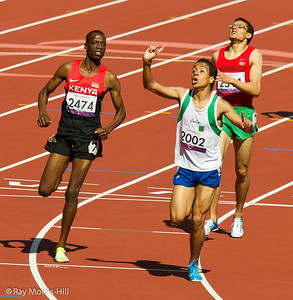 Athletics action in the Olympic Stadium, 8 September, 2012.  Abdellatif Baka (Algeria) wins Gold in a thrilling 800m T13 final.   David Korrir of Kenya won Silver and Abdelillah Mame won Bronze.