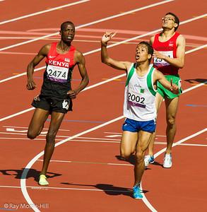 Athletics action in the Olympic Stadium, 8 September, 2012.  Abdellatif Baka (Algeria) wins Gold in a thrilling 800m T13 final.   David Korrir of Kenya won Silver and Abdelillah Mame won Bronze.