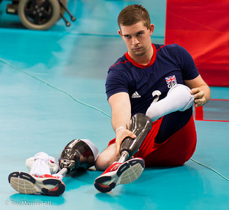 Sitting Volleyball at Excel, 7 September 2012. Justin Phillips (GBR) gets ready.  GB lost 3-0 to China in the 7-8 Classification match.