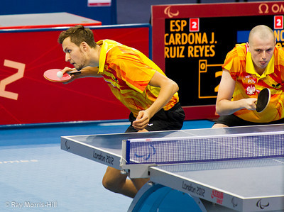 Table Tennis at Excel, 7 September 2012. Poland on their way to defeating Spain in their Men's Team Class 9-10 semi-final.
