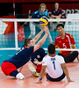 Sitting Volleyball at Excel, 7 September 2012. Justin Phillips (GBR) guilty of lifting.  GB lost 3-0 to China in the 7-8 Classification match.