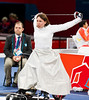 Wheelchair Fencing at Excel, 7 September, 2012.  Evgeniya Sycheva of Russia stretches before her match against Jing Rong of China in her first round match in the quarter final team event. China won 45-38.