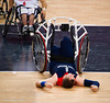 Simon Munn (GB) takes a big hit in the match against Japan on 3 September 2012 at the North Greenwich Arena