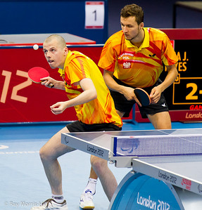 Table Tennis at Excel, 7 September 2012. Poland on their way to defeating Spain in their Men's Team Class 9-10 semi-final. Sebastian Powrozniak serving.