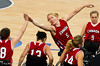 Janet Mclachlan reaches for a high five with her team mate Tamara Steeves