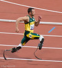 Oscar Pistorius running the controversial 200m T44 race where he lost to Alan Oliveira and complained that the winner's blades were too long.