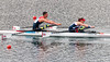 Nicholas Beighton and Samantha Scowen of Great Britain on their way to qualifying for the final of the mixed sculls