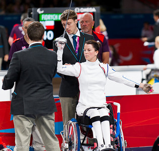 Wheelchair Fencing at Excel, 7 September, 2012.  Delphine Bernard of France prepares for her fight against Hungary's Gyongyi Dani in the quarter final team match with Hungary.   France lost a close contest 45-41.