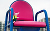 Piglet occupies a gamesmaker chair at the Olympic Park