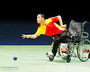 Boccia at Excel, 7 September 2012.  Zhiqiang Yan of China won his semi-final match and won a silver medal in the Mixed Individual BC2 event