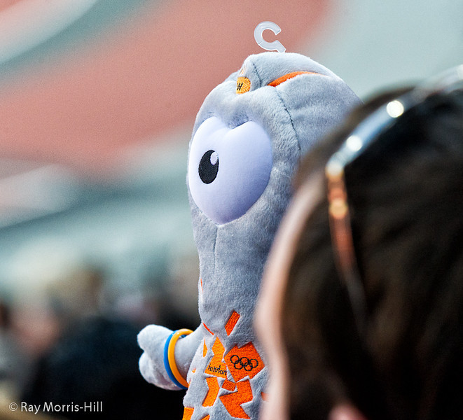Wenlock watches the Athletics action.