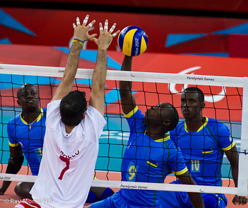 Sitting Volleyball at Excel, 7 September 2012. Mohamed Suhani (MAR) vs Jean Baptiste Jahamanyi (RWA).  Rwanda won 3-1 against Morocco in the 9-10 Classification match. It was the first ever victory by a sub-Saharan African team.