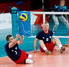 Sitting Volleyball at Excel, 7 September 2012. Justin Phillips and Richard Dobell of Great Britain..  GB lost 3-0 to China in the 7-8 Classification match.