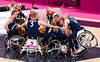 Team GB huddle at the start of their match against Japan