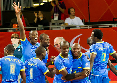 Sitting Volleyball at Excel, 7 September 2012. Rwanda celebrate a famous victory.  Rwanda won 3-1 against Morocco in the 9-10 Classification match.