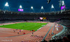 The Olympic Stadium as night begins to fall.   2nd September 2012.