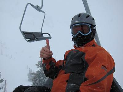 Peter during brutal day at Alta - white out conditions, 15 mph winds, temp 15 degrees, so key was to minimize exposed skin (hence hood, mask) to enjoy the fresh snow.