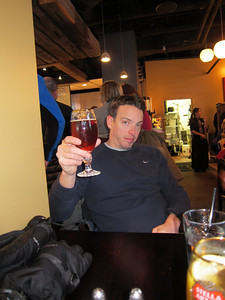 Rob enjoys an apres-ski belgain ale at the brewpub at the base of Park City