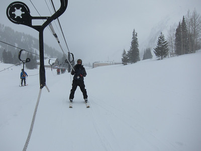 Day 3: we head to Alta, approx 60 min from Park City back through SLC and east up Cottonwood Canyon. Conditions were epic, total whiteout. Here we take a horizontal ropetow to commute between two base areas - note Rob is on skis, as Alta does not allow snowboarders