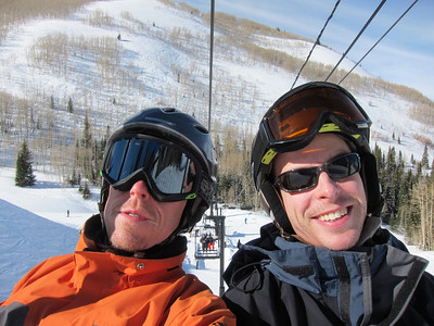 Peter and Rob kicking off ski season 2011, first lift up at Park City