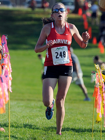 "Fairview High School's Isabelle Kennedy crosses the finish line in first-place during the Pat Patten cross country invitational on Friday, Sept. 28, at Harlow Platts Community Park in Boulder. For more photos of the event go to  <a href=""http://www.dailycamera.com"">http://www.dailycamera.com</a><br /> Jeremy Papasso/ Camera"