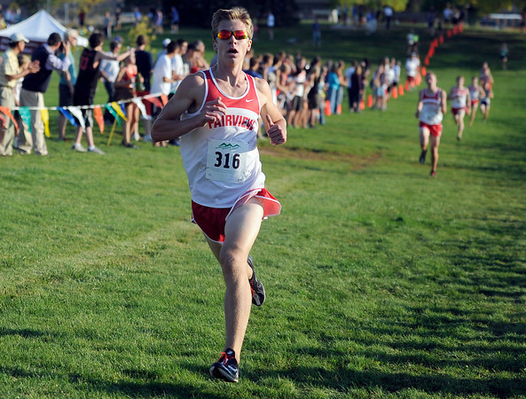 "Fairview High School's Kyle Lund crosses the finish line in third-place during the Pat Patten cross country invitational varsity boys race on Friday, Sept. 28, at Harlow Platts Community Park in Boulder. For more photos of the event go to  <a href=""http://www.dailycamera.com"">http://www.dailycamera.com</a><br /> Jeremy Papasso/ Camera"
