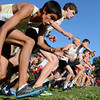 """Monarch High School's Kingston Wagner, left, Wyatt Reis and Chay Weaver race out of the starting line during the Pat Patten cross country invitational on Friday, Sept. 28, at Harlow Platts Community Park in Boulder. For more photos of the event go to  <a href=""""http://www.dailycamera.com"""">http://www.dailycamera.com</a><br /> Jeremy Papasso/ Camera"""