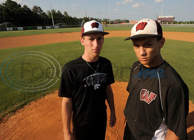 Whitehouse High School baseball team players Ryan Cheatham and Patrick Mahomes pose for a portrait in 2012.  (photo by Herb Nygren/Tyler Morning Telegraph)