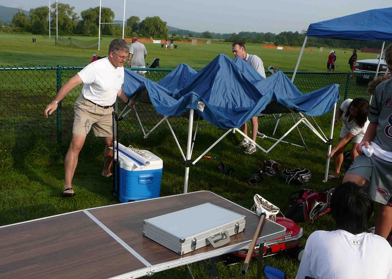 Get there at 7 am to catch a spot by the side of the stadium... and set up the tents for the Cannons' Compound by fields 5 and 9.