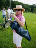 Jeanie Riley with her Starbucks waiting for the starter to let her foursome drive out to the first tee.