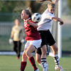 "Peak to Peak High School's Belle Morel tries to head the ball against CheyAnn Queener during a soccer game against Classical Academy at Peak to Peak Charter School in Lafayette on Thursday, May 17. For more photos of the game go to  <a href=""http://www.dailycamera.com"">http://www.dailycamera.com</a><br /> Jeremy Papasso/ Camera"