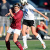 "Peak to Peak High School's Michaela Vanderheiden heads the ball over Joanie Jacks during a soccer game against Classical Academy at Peak to Peak Charter School in Lafayette on Thursday, May 17. For more photos of the game go to  <a href=""http://www.dailycamera.com"">http://www.dailycamera.com</a><br /> Jeremy Papasso/ Camera"