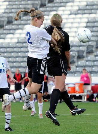 "Peak to Peak High School's Belle Morel heads the ball in for a goal from a corner kick during the Class 3A State Championship against Colorado Academy on Tuesday, May 22, at Dick's Sporting Good Park in Commerce City. Peak to Peak won 2-1. For more photos of the game go to  <a href=""http://www.dailycamera.com"">http://www.dailycamera.com</a><br /> Jeremy Papasso/ Camera"