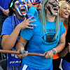 "Peak to Peak High School graduates Gavy Roda, left, and Corey Johnson cheer for their school during the Class 3A Girls State Soccer Championship against Colorado Academy on Tuesday, May 22, at Dick's Sporting Good Park in Commerce City. Peak to Peak won 2-1. For more photos of the game go to  <a href=""http://www.dailycamera.com"">http://www.dailycamera.com</a><br /> Jeremy Papasso/ Camera"