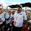 "Peak to Peak Head Coach Peter Chandler reacts after having cold water dumped on him by his team after winning the Class 3A State Championship against Colorado Academy on Tuesday, May 22, at Dick's Sporting Good Park in Commerce City. Peak to Peak won 2-1. For more photos of the game go to  <a href=""http://www.dailycamera.com"">http://www.dailycamera.com</a><br /> Jeremy Papasso/ Camera"