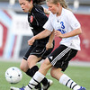"Peak to Peak High School's Lea Maxwell passes the ball past Colorado Academy's Sarah Sibley during the Class 3A State Championship against Colorado Academy on Tuesday, May 22, at Dick's Sporting Good Park in Commerce City. Peak to Peak won 2-1. For more photos of the game go to  <a href=""http://www.dailycamera.com"">http://www.dailycamera.com</a><br /> Jeremy Papasso/ Camera"