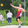 A Pentathlon was held at Lunenburg High School on Monday. Competing in the disces is Fitchburg's sophomore MIchael Bourque. SENTINEL & ENTERPRISE/JOHN LOVE
