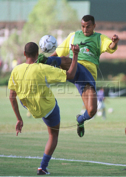Cafu fights  for the ball with Rivaldo during training with the Brazilian national team in Teresopolis, about 100 miles north of Rio de Janeiro. (Australfoto/Douglas Engle)