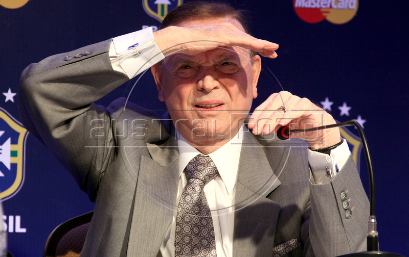 Brazilian Soccer Confederation (CBF) President Jose Maria Marin at a press conference in Rio de Janeiro, Aug. 21, 2012. Marin said he gives his full support to the national team manager, Mano Menezes. (Australfoto/Douglas Engle)