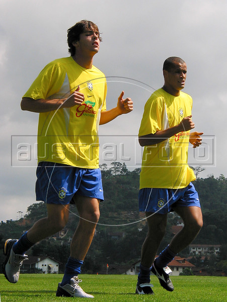 Brazil: Kaka, left, and Rivaldo train with the Brazilian national team in Teresopolis, about 100 miles north of Rio de Janeiro. (Australfoto/Douglas Engle)