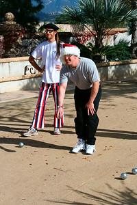 First petanque game for Doug (Dec 2005)