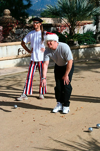 First petanque game for Doug (Dec 2005)