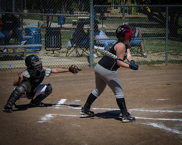 Addison takes her swings in the first inning