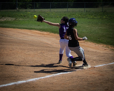 Alina hustles out the hit in the first inning