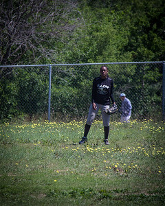 Welcome to the jungle... Azia patrols the Brooks' fauna in center field