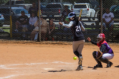 Azia get pelted in the leg in the first inning
