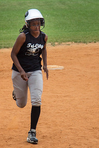Azia steals third base in the first inning