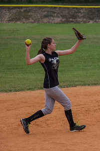 Micaylah makes a throw from shortstop