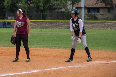 Rylee stops on first base after a bases loaded, two-run single in the first inning