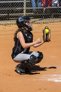 Hannah behind the plate